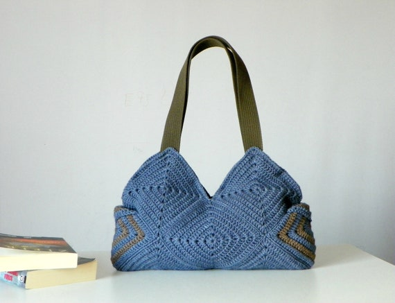 Purse, Handmade crochet Bag, Granny square, Crochet bag - Fall, Autumn Fashion women handbag, denim blue,Shoulder Bag