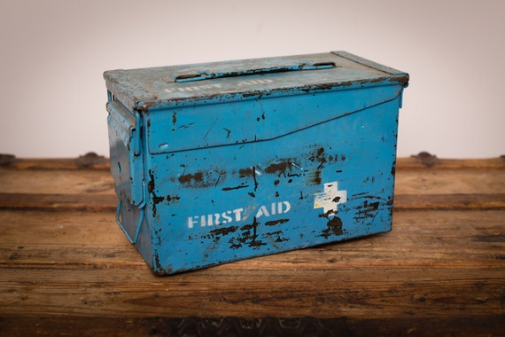 Vintage Metal Military First Aid Storage Box, Chippy Blue Paint