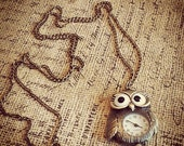 Brass Owl Quartz Pocket Watch Pendant Necklace