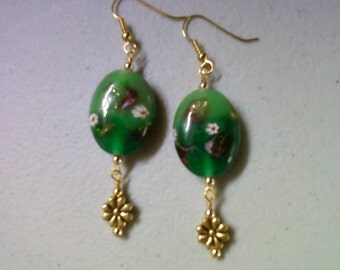 Green millefiori earrings (0371)