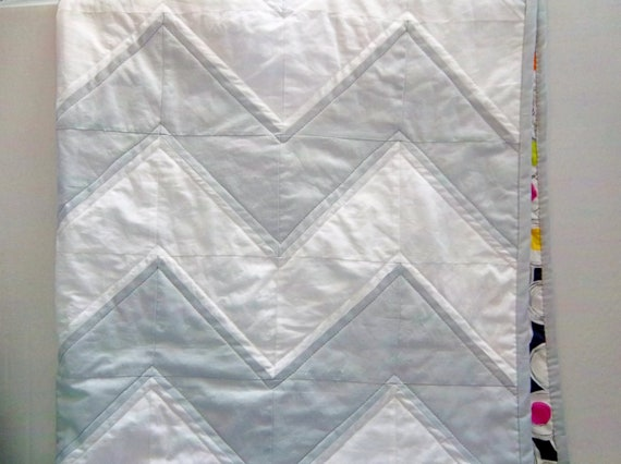 Modern Chevron Quilt in Pale Gray and White, Lap Quilt, Baby Quilt, Toddler Quilt by Dreamy Vintage Sheets on Etsy