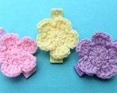 Crochet Flower Hair Clips - Pink, Yellow, Lavender