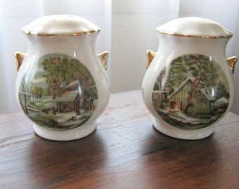 Vintage Enesco Currier and Ives The Homestead in Winter Salt and Pepper Shaker Set