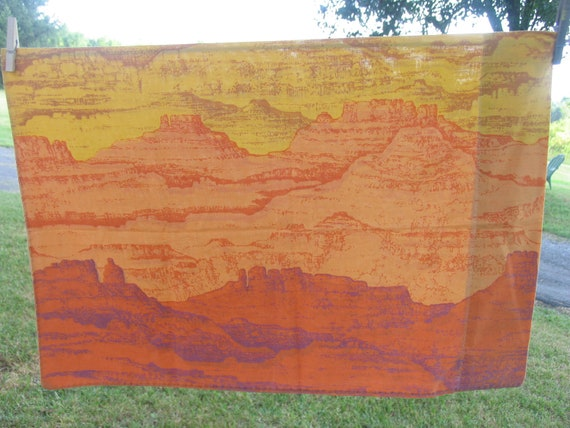 Vintage Sheets Set Twin Top or Flat, Twin Fitted or Bottom Sheet with Matching Pillowcase Mountains and Buttes Oranges and Golds and Purples