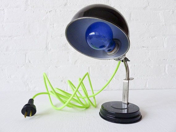 15% SALE - Vintage Industrial Black & Chrome Lamp or Sconce w/ Neon Green Yellow Color Cord OOAK