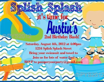 ON SALE - Water Party Boys Invitation - Pool Party - Nautical - Splash Party - Personalized Digital DIY