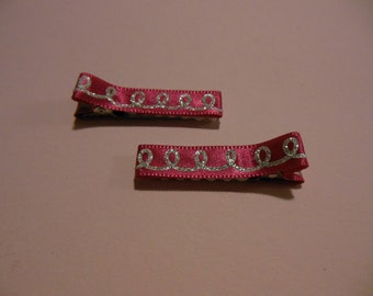 Sparkly lights on pink hair clips - set of two