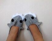 ADULT SIZE,Grey Crochet  Shark slippers, house shoes-Crochet  Booties-Gray booties-animal