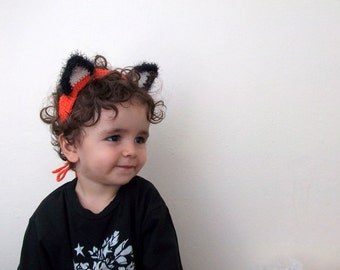 Crochet Fox Headband Halloween Costume-Orange and Black Fox Ears - baby/kids/woman/man accessory costume-weird headband
