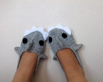 ADULT SIZE,Grey Crochet  Shark slippers, house shoes-Crochet  Booties-Gray booties-animal