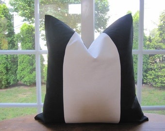 Pillow, Decorative Throw Pillow Cover, Black and Off White Wide Stripe Pillow Cover 18 x 18, 20 x 20, 22 x 22, 24 x 24