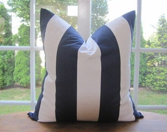 Pillow, Decorative Throw Pillow Cover, Navy and White Cabana Stripe Pillow Cover 18 x 18, 20 x 20, 22 x 22, 24 x 24
