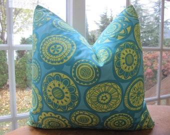 Pillow, Decorative Throw Pillow Cover, Designer Teal and Yellow Cartwheel Pillow Cover 18 x 18, 20 x 20, 22 x 22, 24 x 24