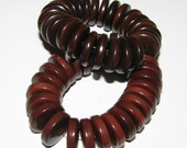 25 Chocolate Brown Tagua Nut Beads, 13mm Rondell Beads, FD, EcoBeads, Natural Beads, Organic Beads, Vegetable Ivory Beads