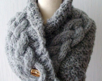 Chunky Cowl Scarf Neck Warmer Handknit Light Grey Cabled  with a Wooden Button SALE