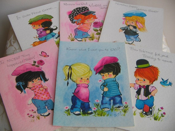 "Vintage Greeting Cards Unused Lot of 13 ""Sassy Ones"" Box Envelopes, Chubby Cheeked Children Assorted Adorable Colorful, LARGE Size"