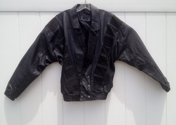 Vintage 1980's Futuristic Cropped Black Leather Jacket with Film Strip Panels of Textured Leather Men's M / L