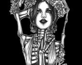 Dark Art Print Gothic Dead Girl  Day of the dead 16 by 20 inches