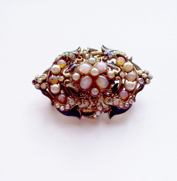 Vintage Brooch Pin Gold Tone Faux Pearl Fire Opal Rhinestone Intricate Victorian Style Costume Jewelry  70s