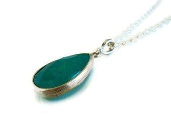 Emerald Quartz Necklace, Emerald  Green Jade Faceted Teardrop Pendant Necklace with Silver Filled Chain - Also Available in Gold, Mom Gift