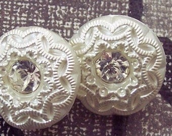 Czech Glass Buttons White with Rhinestones 13mm