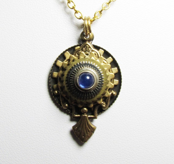 Steampunk Time Warp Mirror Pendant Charm Necklace - One of a Kind Couture OOAK - Adjustable