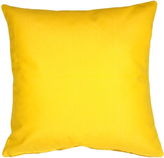Solid Yellow Cotton Decorative Pillow Cover by PlumandLitton