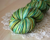 Hand Dyed DK Weight Yarn / Moss Green Turquoise Gold Brown Superwash Merino Wool