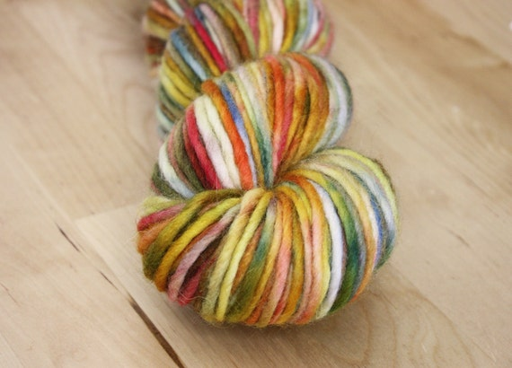 RESERVED Hand Dyed Yarn / Gold Red Orange Blue Mohair Wool / Bulky Weight