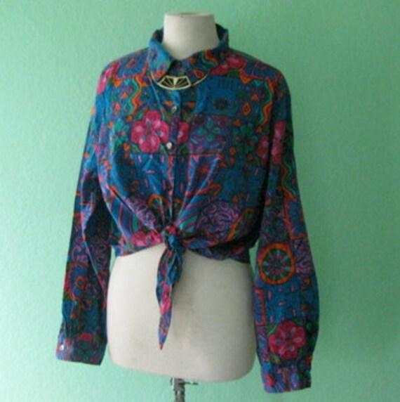 80s shirt - colorful front tie button down shirt - size medium