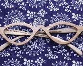 handmade cat's eye shape reading olive wood glasses eyewear eyeglasses 1202  wtth lenses
