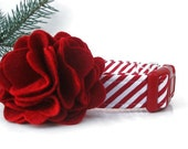 Striped Christmas Dog Collar and Red Flower Accessory - Peppermint Stick