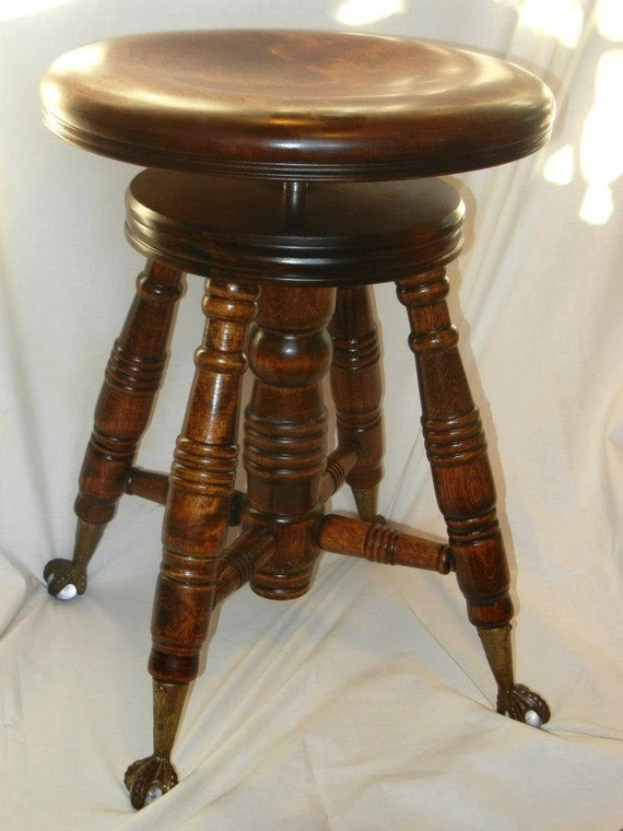 Antique Piano Stool Eagle Claw Glass Feet