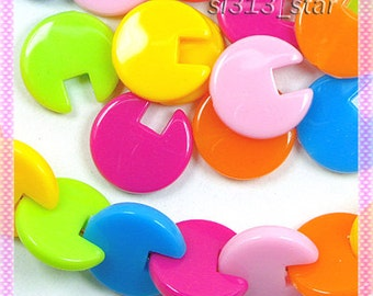 50pcs of Acrylic Puzzle Beads, Mix Colors
