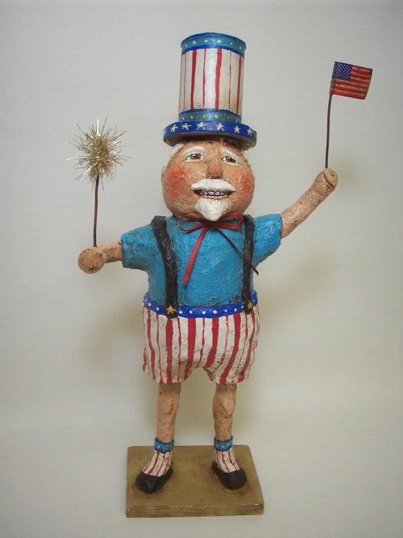 Primitive Paper Mache Folk Art Uncle Sam Container