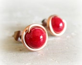 Coral Stud Earrings - Copper Wire Wrapped Bright Red Posts