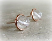 Rose Gold Stud Earrings, Faceted Quartz Posts, Clear Crystal Quartz, Wire Wrap Studs, Bridal Jewelry, Handmade by Contempo Jewelry