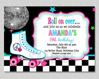 Roller Skating Birthday Invitation Roller Skating Birthday Party Invitation Printable Digital