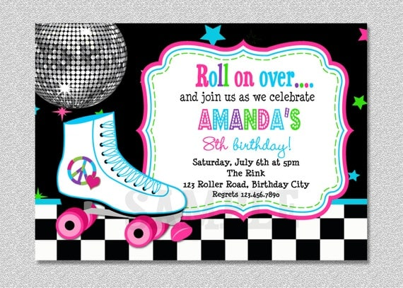 Roller Skating Birthday Invitation Rollerskating Birthday
