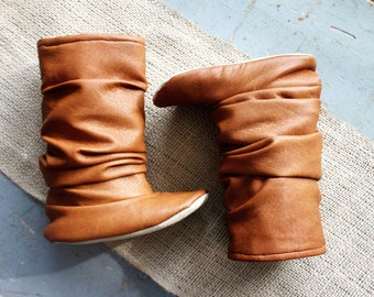 Toddler Boots Soft Soled Shoes Baby Boots Fall Boots Winter Boots Faux Leather Tan Sloch Boots Camel Boots