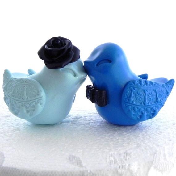 Reserved for Elizabeth - Something Blue Wedding Cake Topper, Love Birds, Icy Blue, Navy, and Royal Blue, Bride and Groom, Keepsake