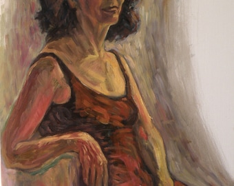 A new portrait of lily in red, oil on canvas. 40-50 % discount upon request.