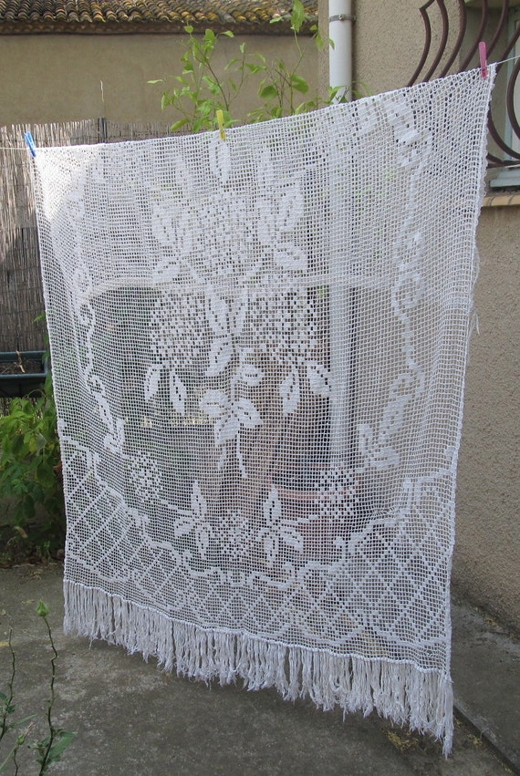 Vintage Hand Crochet French Lace Curtain