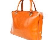 Tawny, French Vintage, Tan Leather 1960s His or Hers, Mini Hold-All Handbag from Paris