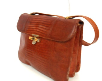 Simone, French Vintage, Tan Snakeskin Leather Satchel, 1970s Handbag from Paris