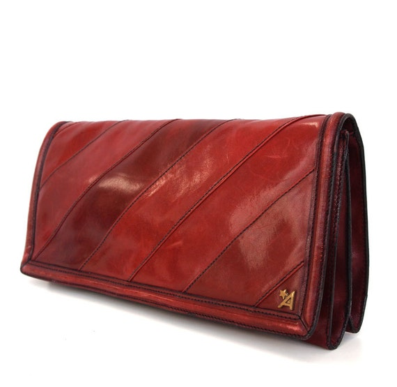 Maggie, French Vintage, Ox Blood Leather, Mulberry Clutch Handbag from Paris