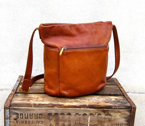 Vintage Large Worn In Tan Leather Bucket Bag