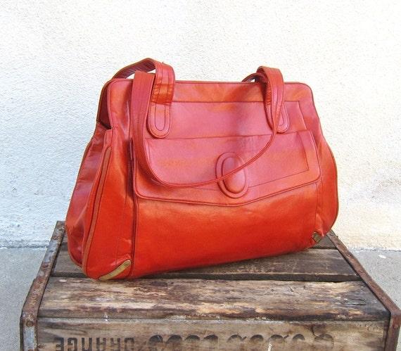 Vintage Burnt Orange Glossy Leather Pocket Tote Purse