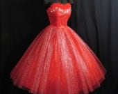 RESERVED Vintage 1950's 50s Bombshell Strapless RED Emma Domb Beaded Metallic Tulle  Party Prom DRESS