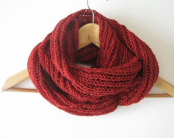 cherry red scarf, wool scarf, Fall Winter accessories
